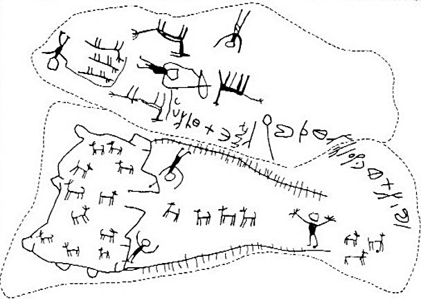 "A rock art hunting scene from Jordan, c. 2000 years old. Gazelle is being driven along leading lines into the central corral. Such a construction is popularly called ""desert kite"". Picture from the Megalithic portal, originally recorded by G.L. Harding (The Cairn of Hani, Antiquity 28, 1954: 165-7)."