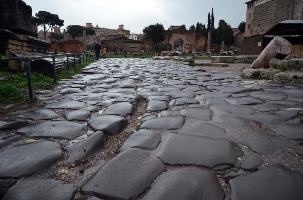 All roads lead to Rome! Basalt paving at Forum Romanum. Photo: Per Storemyr