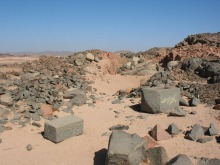 The main quarry workings at Rod el-Gamra in the Eastern Desert of Egypt. Photo: Per Storemyr
