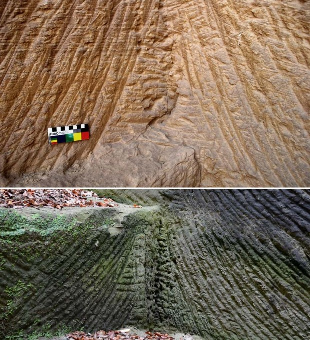 Curved tracks of pickaxe in a corner at the Shesmetet quarry (top). The quarryman needed to turn round to remove the last bit of stone (marks to the right of the scale). This is very typical in quarries were picks have been used to make separation trenches, for example in the Berne area in Switzerland (bottom, 19th century). Photos: Per Storemyr.