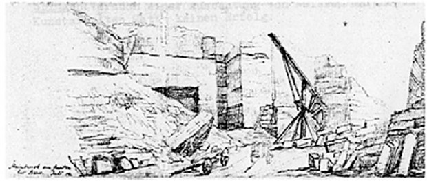 Sketch of the Wabern quarry by 1854, by J.E. von Deschwanden: Source: Labhart 2006