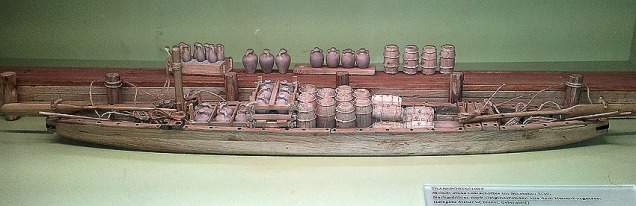 Switzerland: Transportation of heavy goods is always of interest to a stone researcher. Here's a reconstructed model of a Roman cargo ship displayed at the Vindonissa museum in Brugg. Photo: Per Storemyr.