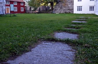 Norway: Rein medieval abbey in the central part of the country. Remains of floor slabs made from local gneiss from the abbey church. Photo: Per Storemyr.