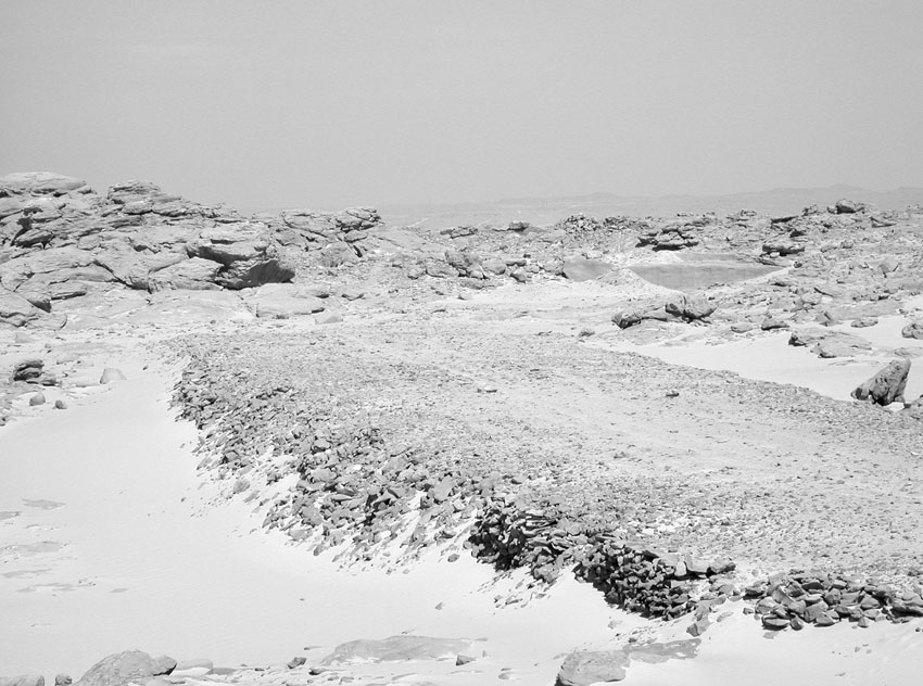 Looking east along the broad ramp leading from the extraction area (right) of the unfinished obelisk of Seti I at Gebel Gulab. Photo: Per Storemyr