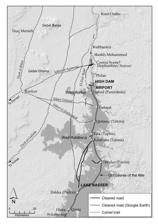 Map of desert roads and trails on the west bank of the Nile in the first cataract region and beyond. The cleared roads are verified in the field, or located with the aid of Google Earth. Sections between Kalabsha and Dakka have been reproduced from Hester et al. (1970: fig. 1). The location of selected routes of camel caravan trails is approximate and based on Survey of Egypt (1949) and Army Map Service (1959). Map: Per Storemyr