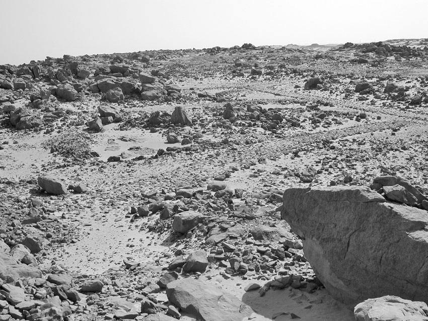 Typical New Kingdom paved quarry roads on top of Gebel Gulab, originating at specific extraction places and joining other roads. Photo: Per Storemyr