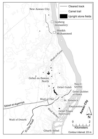 Map based on QuarryScapes survey of long-distance cleared roads, camel trails and fields of upright stones at West Aswan. Map: Per Storemyr