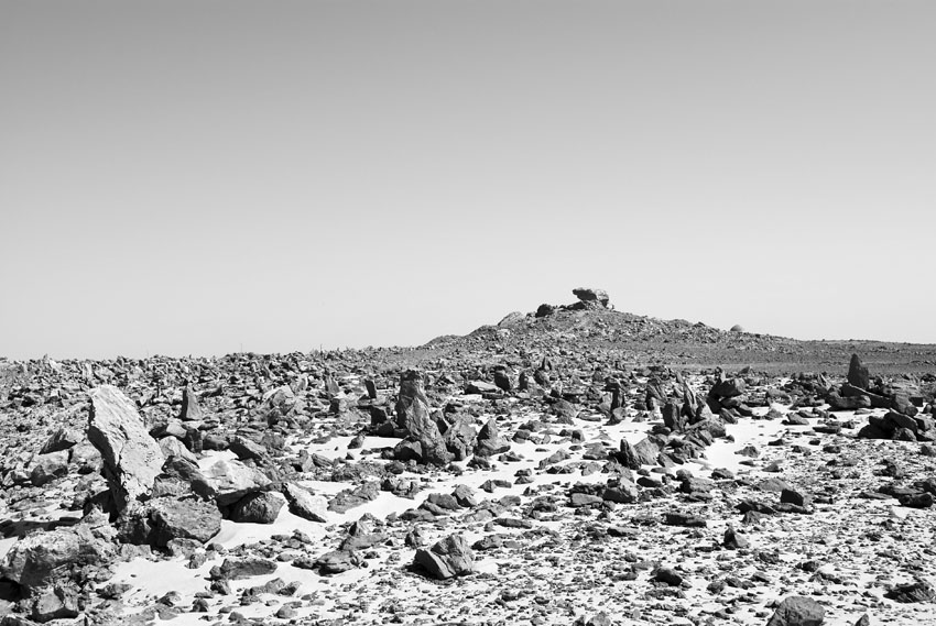 The vast field of upright stones NW of the sanctuary (top of hill) at Gebel Tingar. Photo: Per Storemyr