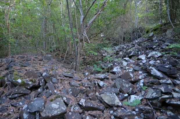 Fra det største diabasbruddet på Hovedøya. Her ser vi store hauger med stein som har blitt sortert etter deres størrelse. Helt til venstre er en haug med pukkstein. Foto: Per Storemyr.