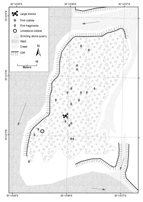 Sketch map of Quarry 1. Long arrows indicate (previous) water drainage. Map: Per Storemyr.