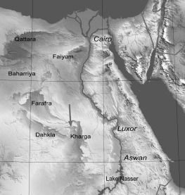 Location of the Kharga oasis and the grinding stone quarry (arrow). Map of Egypt modified from Wikimedia Commons http://commons.wikimedia.org/wiki/File:Egypt_Topography.png).