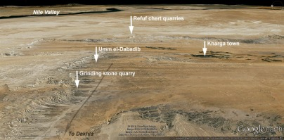 Satellite image showing important places mentioned in the text. This is a strongly tilted view, looking east, the scale only applicable to areas in the lower part of the image. Long arrow indicates the location of a main desert route, the Darb Ain Amur. Image modified from Google Earth.