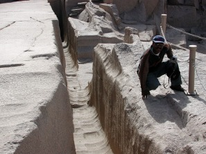 Adel Kelany of the MSA (Ministry of State for Antiquities) has always been part in our work in Egypt. Here by one of the likely fireset and poundered trenches at the Unfinished Obelisk quarry, Aswan. Photo by Per Storemyr