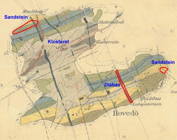 Det er flere titalls steinbrudd på Hovedøya. Her er bare de tre største inntegnet - med det gamle geologiske kartet til Brøgger som bakgrunn.