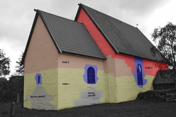 Rekonstruksjon/tolkning av Gildeskål kirkes middelalderske byggefaser. Ill: Per Storemyr