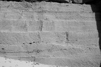 Tool marks in the New Kingdom part of the Nag el-Hammam sandstone quarry near Gebel el-Silsila. Photo by JAMES HARRELL.