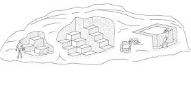 Characteristics of small-scale quarrying by single-block extraction typical of the Middle Kingdom and earlier. Drawing by JAMES HARRELL.