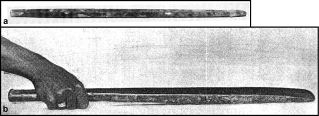 (a) Bronze chisel of the 19th or 21st Dynasty. From the el-Dibabiya limestone quarry near el-Gebelein and now in the Egyptian Museum, Cairo (JE 31318; length 52 cm; photo adapted from CLARKE and ENGELBACH 1930, fig. 263). (b) Bronze chisel of the 18th Dynasty, reign of Akhenaten/Amenhotep IV. From Tell el-Amarna and now in the Egyptian Museum, Cairo (JE 64979; length 67.2 cm; photo from PENDLEBURY 1951 - vol. 2, pl. 74). The chisels are shown at their correct relative sizes.