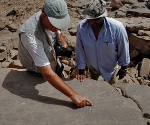 Adel Kelany (right) and Dirk Huyge discussing the rock art in Wadi Abu Subeira. They are slightly competing now: Who finds the most Palaeolithic rock art? Adel at Subeira and Saghira? Or Dirk at Qurta and el-Hosh? Photo by Per Storemyr