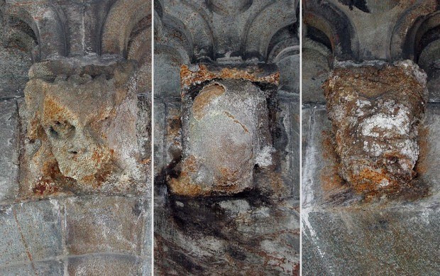 Naturlig forvitring av sulfidrik kleberstein fra Grydal i Gauldalen. Disse konsollhodene ble satt opp på Nidarosdomen på slutten av 1880-tallet og var for litt siden bare en skygge av seg selv - av helt naturlige årsaker. Nå er de byttet ut med nye hoder. Foto: Per Storemyr