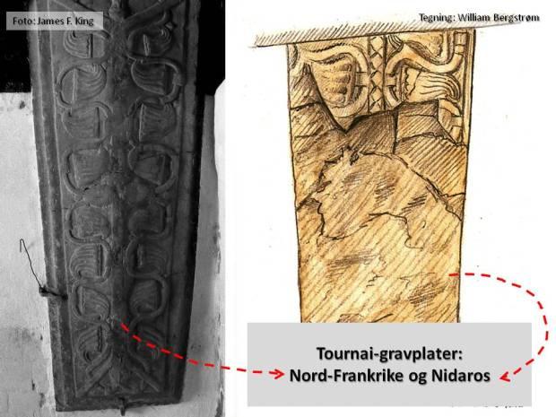 Gravplater i Tournai-marmor fra Nord-Frankrike - og fra Nidarosdomen, omkring midten av 1100-tallet.
