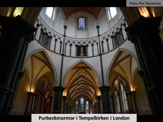 Tempelkirken i London. En av de mange kikrer og katedraler i England som tok i bruk Purbeck-marmor for å skape kontrast til lyse kirekevegger i middelalderen.