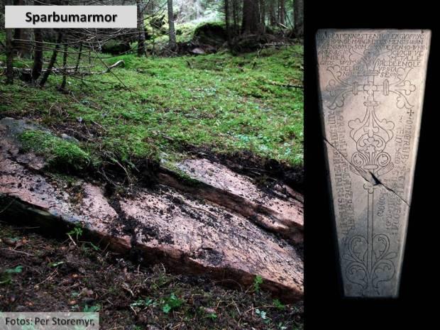 Den fine marmoren i Sparbu er ikke lett å få øye på. Men drar man bort mosen, så dukker det opp spor etter uttak av noen av Norges flotteste gravplater fra middelalderen.