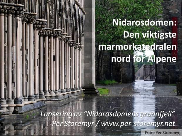Hvit marmor så langt øyet kan se på Nidarosdomens vestfront