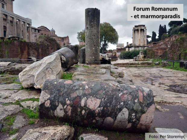 Ruinene av Forum Romanum er selve skattkisten når det gjelder marmor fra alle deler av det gamle imperiet. I forgrunnen fargerik Marmo Africano fra Tyrkia