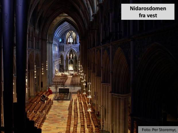 Kirkerommet i Nidarosdomen sett fra vest. Her er det mye marmor: Pilarer i hvit marmor fra Sparbu og golv i rødlig marmor fra Fauske er bare to av dem!