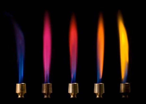 Bunsenbrenner. Stikker du salt inntil, så får du karakteristiske farger. Helt til høyre: fargen av natrium fra halitt. Foto fra http://www.conservation-science.ch/56-2-chemistry-flame-test.html. Se også https://en.wikipedia.org/wiki/Flame_test