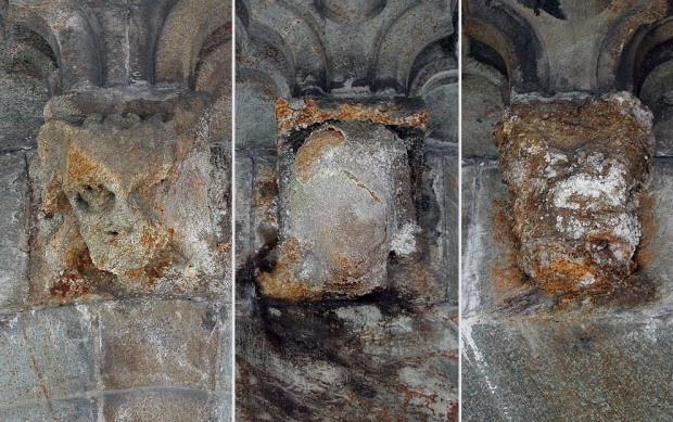 Sterkt forvitrede skulpturer (konsollhoder) fra 1800-tallet på Nidarosdomen. Her har saltene gips og epsomitt (hvite/grå skorper) nærmest spist skulpturene i stykker. Kilden til saltene er kismineraler (magnetkis) i klebersteinen skulpturene er hogget av. Foto: Per Storemyr