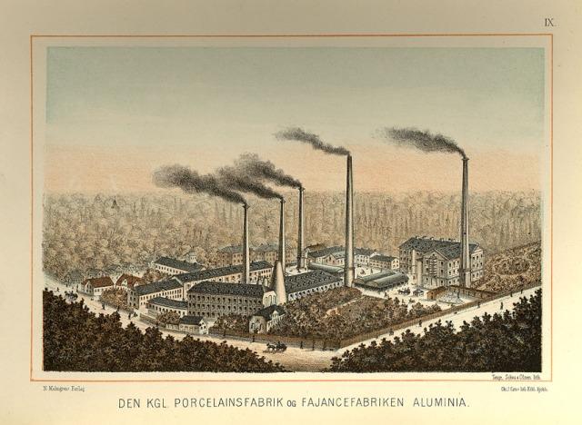 Porselensfabrikken i København. Tegning fra ca. 1888. Kilde: Wikimedia Commons
