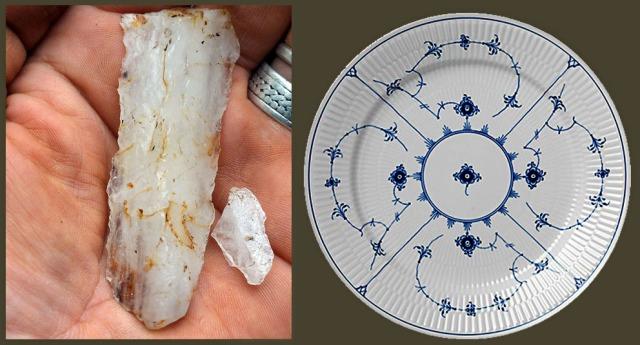 Kvartsredskaper fra steinalderen og Kongens porselen fra København. Det er en sammenheng her. Begge er tuftet på Sørlandets kvarts- og pegmatittforekomster. Foto: Per Storemyr