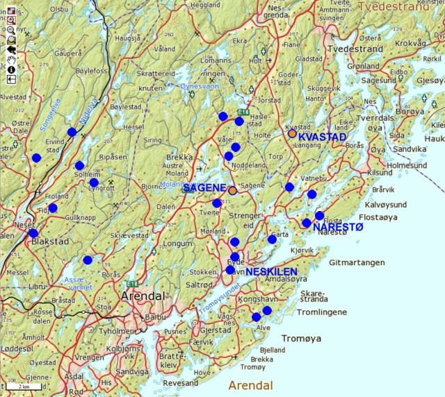 Kart over Arendal-Tvedestrand-regionen med steder nevnt i teksten. Her er også kvarts/feltspat-forekomster som er registrert i NGUs mineralressurs-database tegnet inn. Dette er bare en brøkdel av gruver og skjerpå som faktisk finnes.