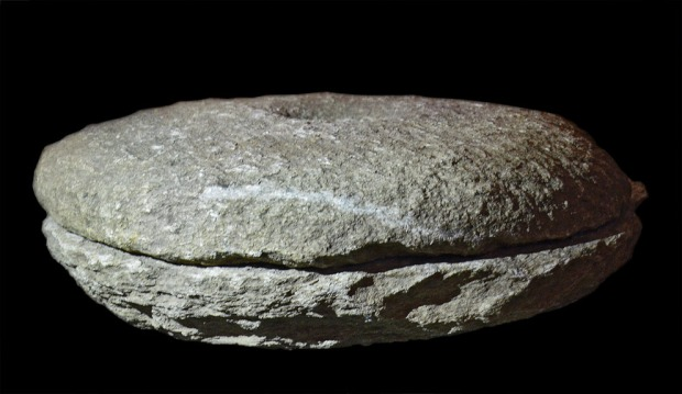 Pair of a rotary hand quern made from mica-rich gneiss found at Sørbø, c. 550 AD. Both the upper and lower stones are rather slim, diameter 46-47 cm. Archaeological Museum, University of Stavanger, inventory no. S12530.25. Photo by Per Storemyr