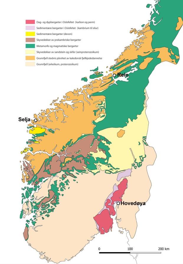 Grunnfjell på Selja, den kaledonske fjellkjede i Trøndelag og Oslofeltet under murene på Hovedøyas kloster. Dette er den spennende og varierte geologien ved noen av Norges viktigste klostre fra middelalderen. Kart fra NGU.