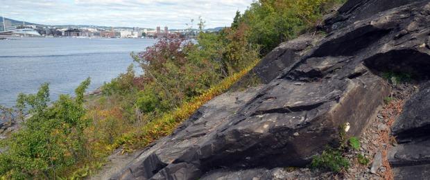 Sandsteinsbrudd på Hovedøya. Vi ser fra bruddet og rett mot Oslos havnebasseng. Dette er ikke er veldig gammelt brudd, men på akkurat det samme stedet der det ble brutt ut stein til klosteret i middelalderen. Foto: Per Storemyr
