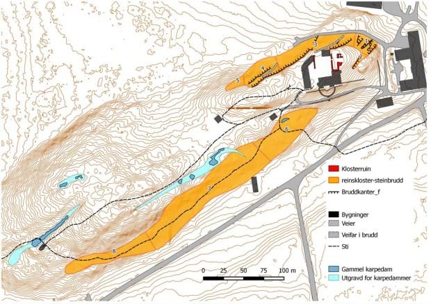 Kart over steinbruddene ved Reinskloster. Totalt dekker de gamle bruddene nesten 15 mål i det overgrodde landskapet. Kart: Per Storemyr og Hans Marius Johansen