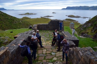 """Another major work that was finished in 2015: On the stone quarries that was used for building medieval monasteries in Norway. More information is forthcoming on my website (but see also under """"Publications"""" at my website). Working with the Norwegian Directorate for Cultural Heritage has been just great! Image from a 2015 seminar at Selja monastery at the westernmost tip of Norway. Photo by Per Storemyr"""