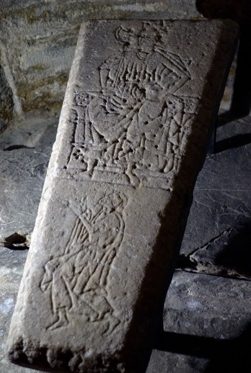 """A medieval grave slab in marble from Værnes church, Central Norway. Værnes was built in the 12th century, as one of the key stone churches up north. Very fortunately, I can carry on studies on the building stones of this church - thanks to my involvement with an interdisciplinary group of researchers keen on the Middle Ages - the """"Grubleseminar"""" group. Photo by Per Storemyr"""
