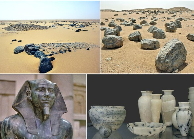 Chephren's Quarry, southern Egypt: Quarry sites, sculpture and vessels. Photos by Per Storemyr