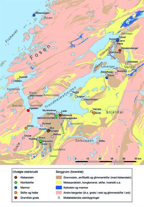 Forenklet geologisk kart over Trøndelag med gamle steinbygninger, samt et utvalg kjente og sannsynlige steinbrudd fra middelalderen tegnet inn. Almlia, Ingdalen, Sorte og Stavlo er ikke bekreftet som middelalderbrudd. Kart: Per Storemyr; geologi forenklet etter Norges geologiske undersøkelse.