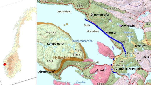 Hyllestad is situated far west in Norway. The geology features a bench of impure marble running through much of the municipality (blue on map). This is the marble, a crystalline limestone, that was used in the lime burning experiment.