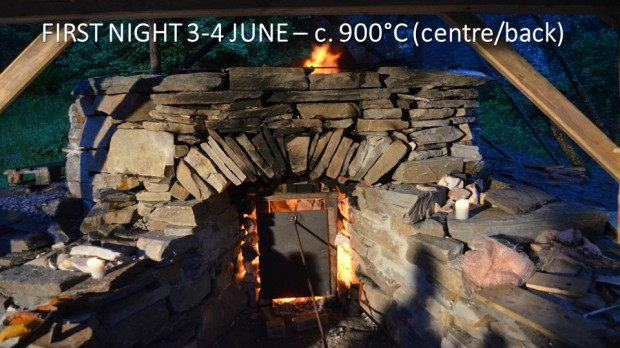 First night of burning. The temperature in the centre of the kiln has already reached 900 degrees.