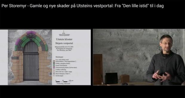 Hvorfor forvitrer kleberstein? Foredrag om den gotiske vestportalen på Utstein kloster i 2017. Screenshot AM-UiS