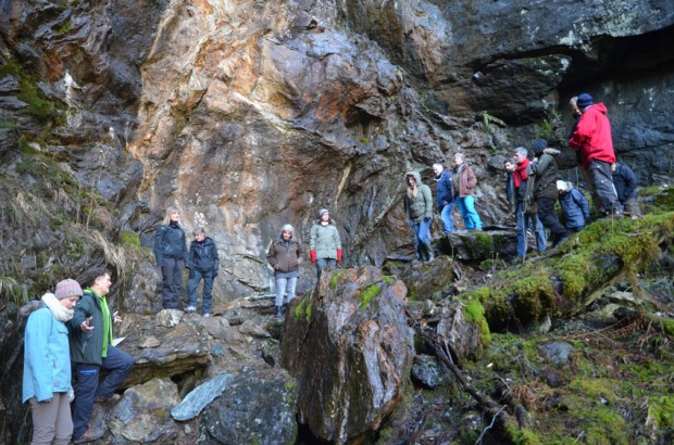 Several authors on excursion to the Hana soapstone quarry by Bergen during a book seminar in 2015. Photo by Per Storemyr