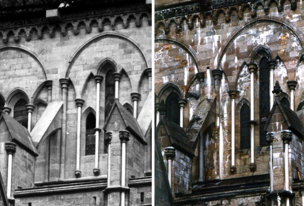 The newly restored choir at Nidaros Cathedral in the 1880s (left) and 1994 (right), before the last restoration early 2000s. All the white calcite crusts are a result of leaching of calcium hydroxide from Portland Cement used in the 1880s. Photos by the Nidaros Restoration Workshop and Per Storemyr.