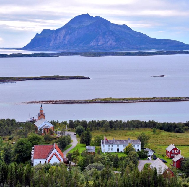 Gildeskål medieval marble church (low left). Far up in Northern Norway. With the Atlantic Ocean as the nearest neighbour. Photo by Per Storemyr