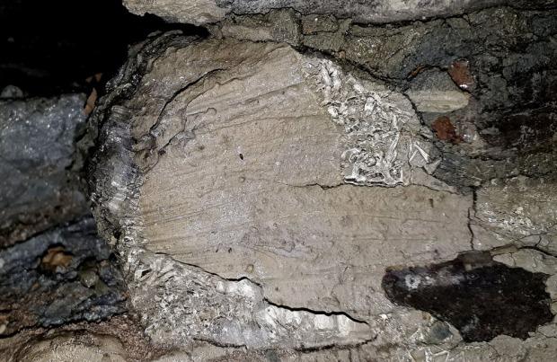 Iskrystaller som har vokst delvis oppå puss, delvis i sprekker mellom puss og stein, 3. januar 2018. Bildebredde ca. 15 cm. Foto: Per Storemyr